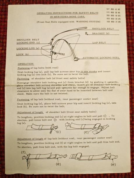 1-22-17 1973 MB 280SEL manuals 4